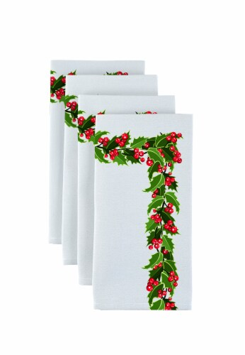 "Napkin Set, 100% Polyester, Set of 12, 18x18"", Holly Garland Perspective: front"