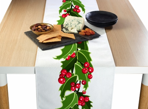 "Table Runner, 100% Polyester, 12x72"", Holly Garland Perspective: front"