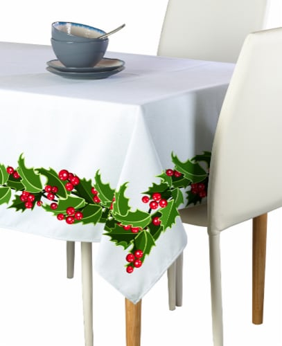 """Square Tablecloth, 100% Polyester, 60x60"""", Holly Garland Perspective: front"""