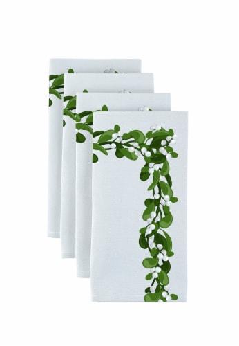 "Napkin Set, 100% Polyester, Set of 12, 18x18"", Mistletoe Garland Perspective: front"