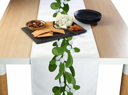 "Table Runner, 100% Polyester, 12x72"", Mistletoe Garland Perspective: front"