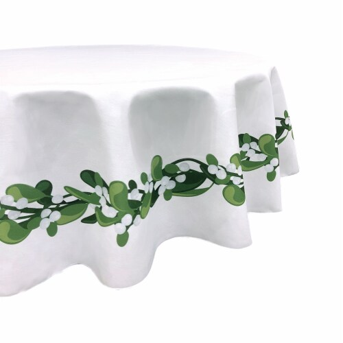 "Round Tablecloth, 100% Polyester, 60"" Round, Mistletoe Garland Perspective: front"