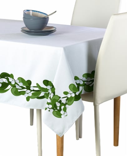 """Rectangular Tablecloth, 100% Polyester, 60x104"""", Mistletoe Garland Perspective: front"""