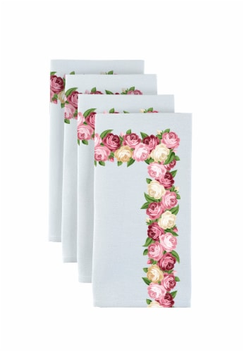 "Napkin Set, 100% Polyester, Set of 12, 18x18"", Peonies Garland Perspective: front"