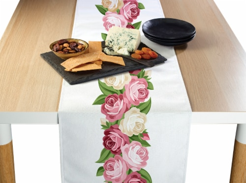 "Table Runner, 100% Polyester, 12x72"", Peonies Garland Perspective: front"
