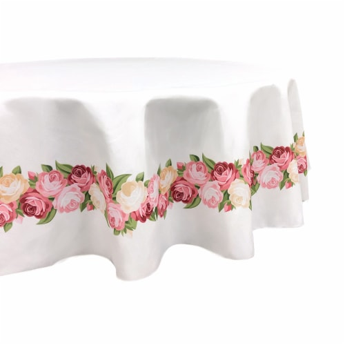 """Round Tablecloth, 100% Polyester, 60"""" Round, Peonies Garland Perspective: front"""
