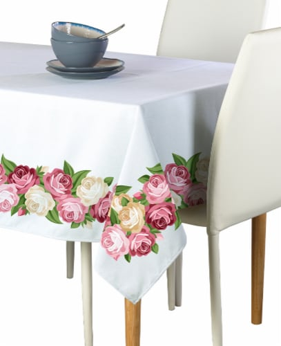 """Rectangular Tablecloth, 100% Polyester, 60x84"""", Peonies Garland Perspective: front"""