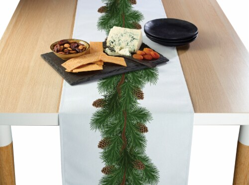 """Table Runner, 100% Polyester, 12x72"""", Pine and Cone Garland Perspective: front"""
