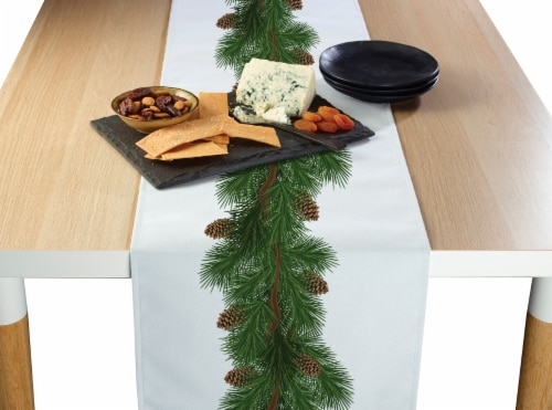 """Table Runner, 100% Polyester, 14x108"""", Pine and Cone Garland Perspective: front"""