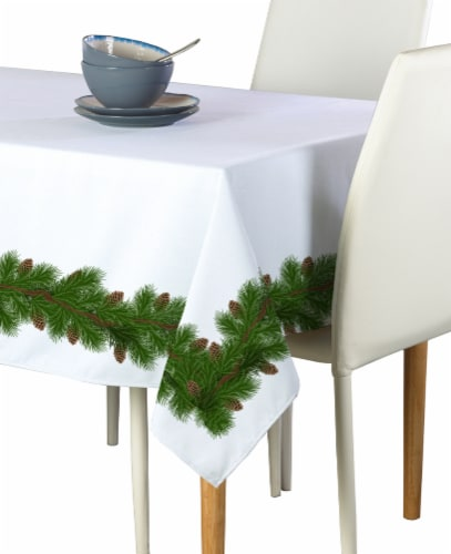 """Rectangular Tablecloth, 100% Polyester, 60x104"""", Pine and Cone Garland Perspective: front"""