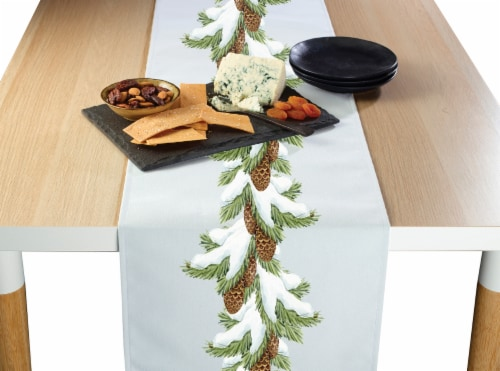 """Table Runner, 100% Polyester, 12x72"""", Pinecone Snow Garland Perspective: front"""