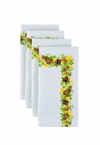 "Napkin Set, 100% Polyester, Set of 12, 18x18"", Pinecones Leaves Garland Perspective: front"