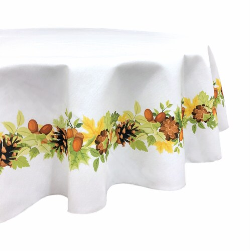 """Round Tablecloth, 100% Polyester, 60"""" Round, Pinecones Leaves Garland Perspective: front"""