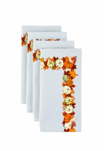"Napkin Set, 100% Polyester, Set of 12, 18x18"", Pumpkin Garland Perspective: front"