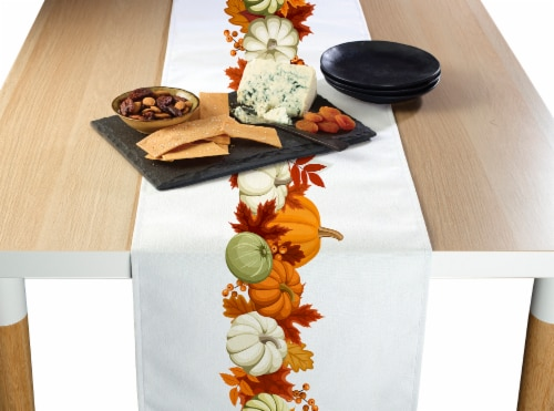 "Table Runner, 100% Polyester, 14x108"", Pumpkin Garland Perspective: front"
