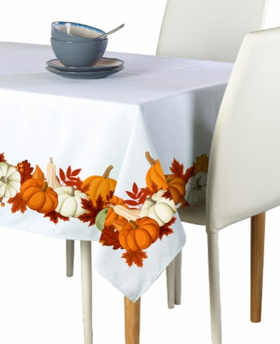 "Rectangular Tablecloth, 100% Polyester, 60x104"", Pumpkin Garland Perspective: front"