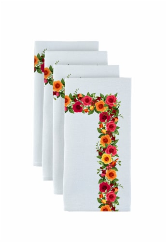 """Napkin Set, 100% Polyester, Set of 12, 18x18"""", Red and Yellow Roses Garland Perspective: front"""
