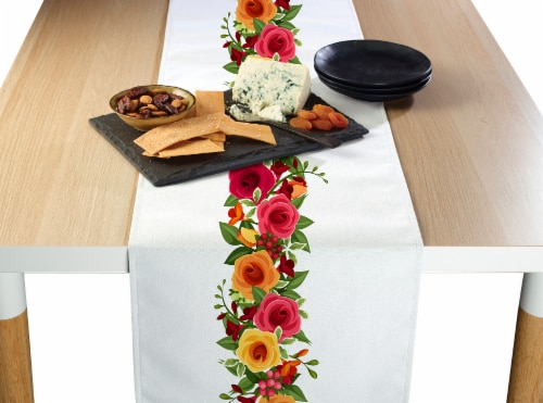 """Table Runner, 100% Polyester, 14x108"""", Red and Yellow Roses Garland Perspective: front"""