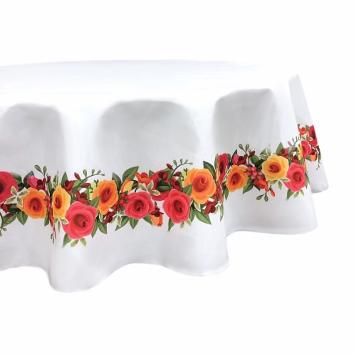 "Round Tablecloth, 100% Polyester, 60"" Round, Red and Yellow Roses Garland Perspective: front"