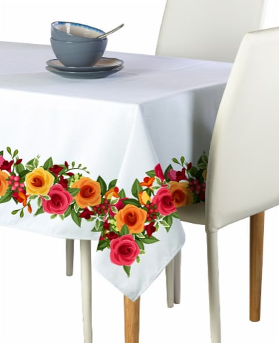 "Rectangular Tablecloth, 100% Polyester, 60x104"", Red and Yellow Roses Garland Perspective: front"