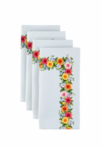 "Napkin Set, 100% Polyester, Set of 12, 18x18"", Rose Garden Garland Perspective: front"