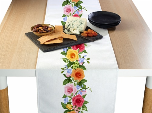 "Table Runner, 100% Polyester, 14x108"", Rose Garden Garland Perspective: front"