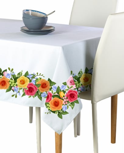 "Rectangular Tablecloth, 100% Polyester, 60x84"", Rose Garden Garland Perspective: front"