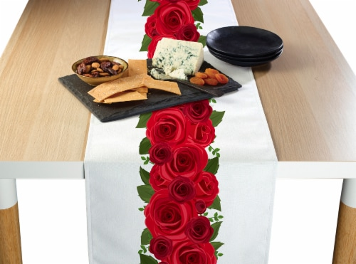 "Table Runner, 100% Polyester, 12x72"", Rose Garland Perspective: front"