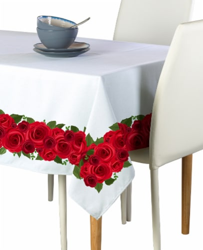 """Rectangular Tablecloth, 100% Polyester, 60x84"""", Rose Garland Perspective: front"""