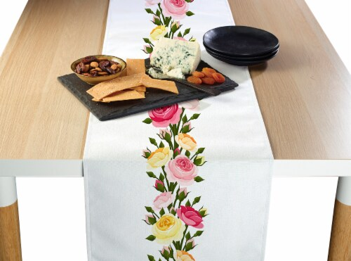 "Table Runner, 100% Polyester, 12x72"", Roses in Bloom Garland Perspective: front"