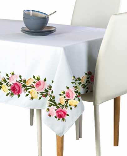 "Rectangular Tablecloth, 100% Polyester, 60x120"", Roses in Bloom Garland Perspective: front"