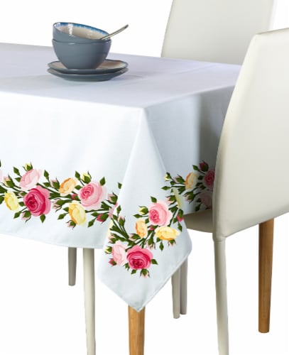 """Rectangular Tablecloth, 100% Polyester, 60x120"""", Roses in Bloom Garland Perspective: front"""