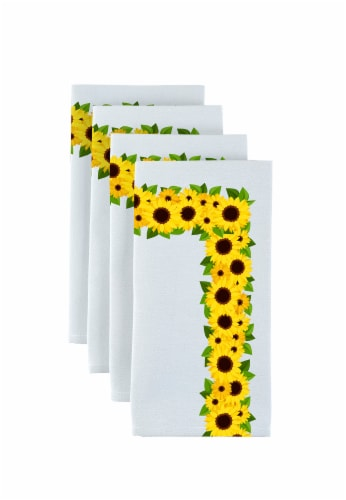 """Napkin Set, 100% Polyester, Set of 12, 18x18"""", Sunflower Garland Perspective: front"""