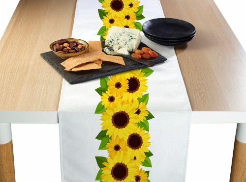 """Table Runner, 100% Polyester, 14x108"""", Sunflower Garland Perspective: front"""