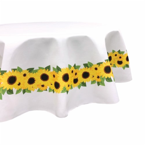 """Round Tablecloth, 100% Polyester, 60"""" Round, Sunflower Garland Perspective: front"""