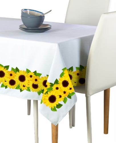 "Rectangular Tablecloth, 100% Polyester, 60x104"", Sunflower Garland Perspective: front"
