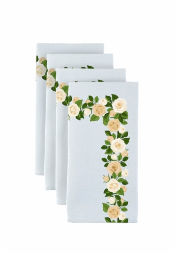 """Napkin Set, 100% Polyester, Set of 12, 18x18"""", Wedding White Roses Garland Perspective: front"""