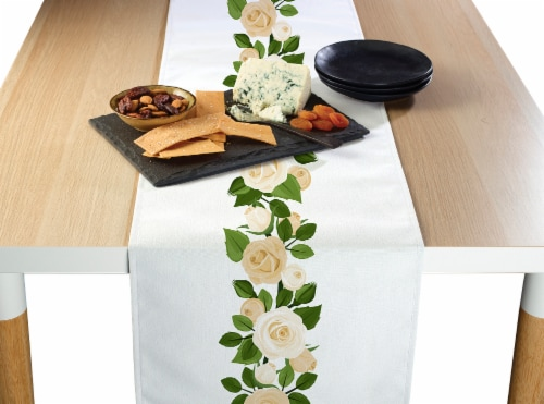 """Table Runner, 100% Polyester, 14x108"""", Wedding White Roses Garland Perspective: front"""