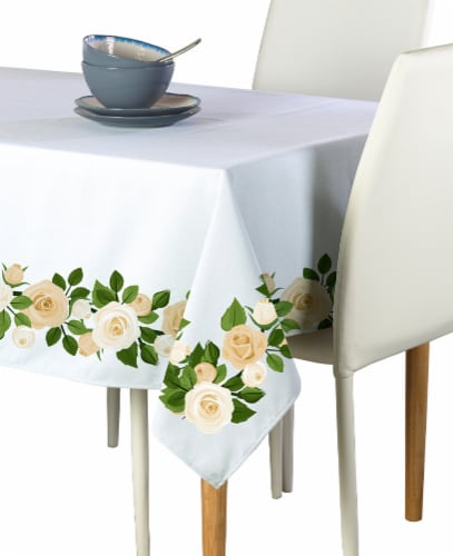 "Rectangular Tablecloth, 100% Polyester, 60x84"", Wedding White Roses Garland Perspective: front"