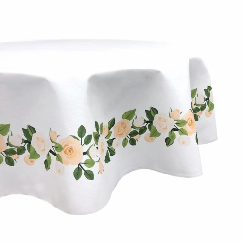 """Round Tablecloth, 100% Polyester, 84"""" Round, Wedding White Roses Garland Perspective: front"""