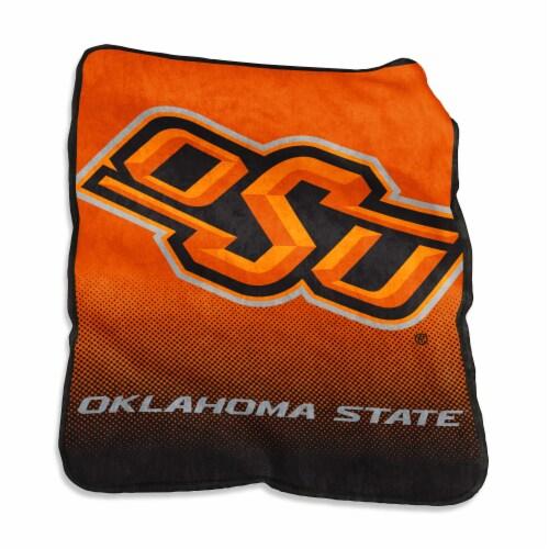 Oklahoma State University Raschel Throw Blanket Perspective: front