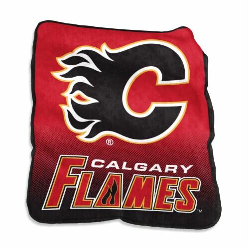Calgary Flames Raschel Throw Blanket Perspective: front