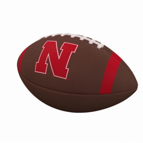 Logo Brands 182-93FC-1 Nebraska Team Stripe Official-Size Composite Football Perspective: front