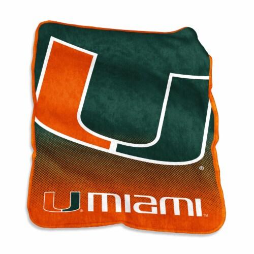 University of Miami Raschel Throw Blanket Perspective: front