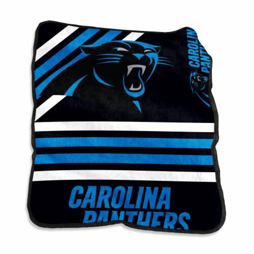 Carolina Panthers Raschel Throw Blanket Perspective: front