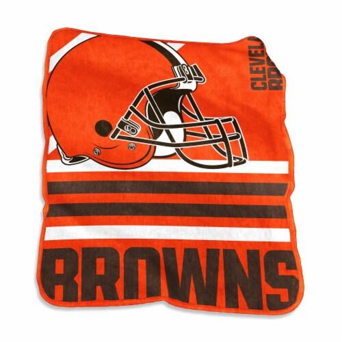Cleveland Browns Raschel Throw Blanket Perspective: front
