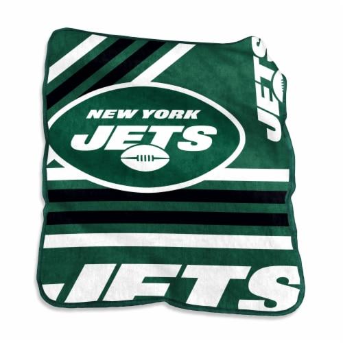 New York Jets Raschel Throw Blanket Perspective: front