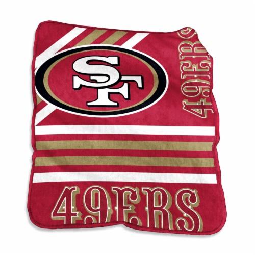 San Francisco 49ers Raschel Throw Blanket Perspective: front