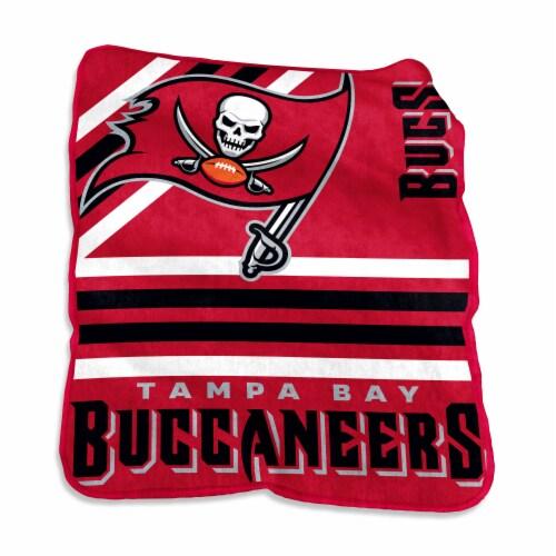 Tampa Bay Buccaneers Raschel Throw Blanket Perspective: front