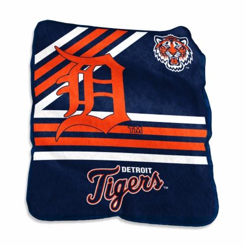 Detroit Tigers Raschel Throw Blanket Perspective: front